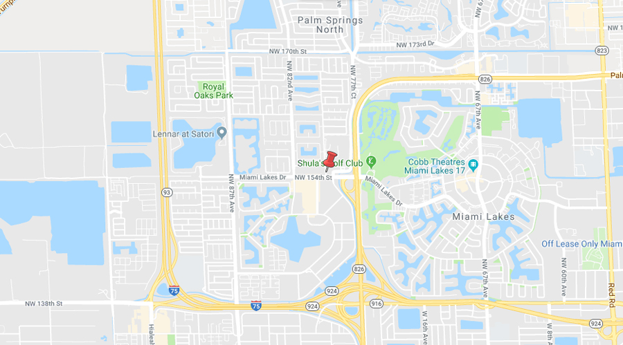 Map of the area surrounding our Miami Lakes branch