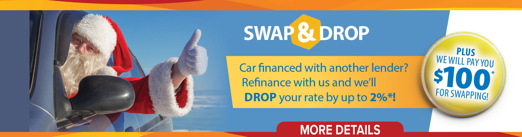 Car loan financed with another lender? Refinance with us & we'll drop your interest rate by up to 2%